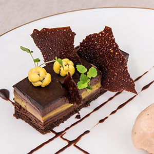 The tea room's Chocolate and pistachio dishes